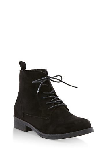 Faux Suede Lace Up Ankle Booties,BLACK F/S,large