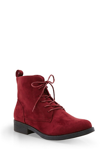 Faux Suede Lace Up Ankle Booties,BURGUNDY F/S,large
