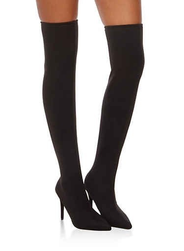 Over the Knee Pointed Toe Stretch Boots,BLACK LYC,large
