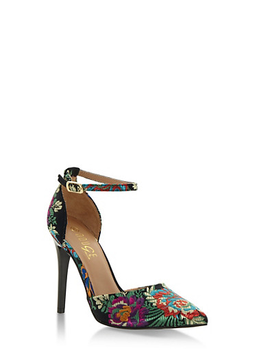 Floral Embroidered Ankle Strap Pumps,BLACK FABRIC,large