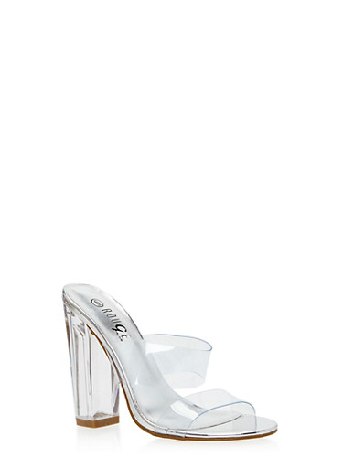 Clear Double Strap Chunky Heeled Slides,SILVER PATENT,large