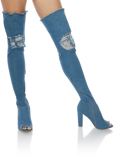 Ripped Thigh High Peep Toe Denim Boots,BLUE DENIM,large