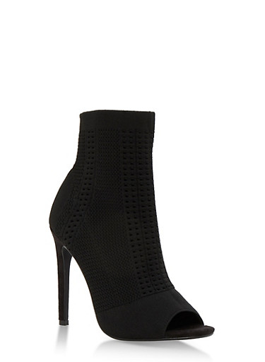 Perforated Knit Open Toe Booties,BLACK KNIT,large