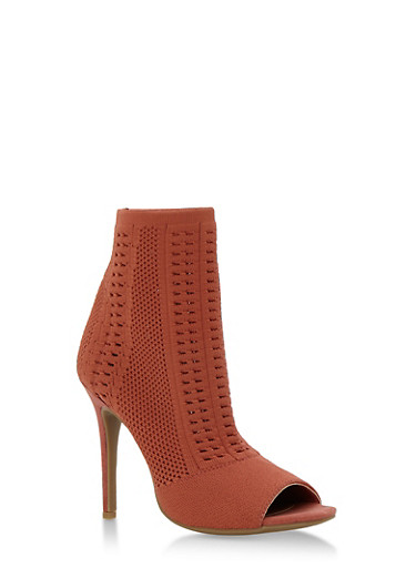 Perforated Knit Open Toe Booties,MAUVE KNIT,large