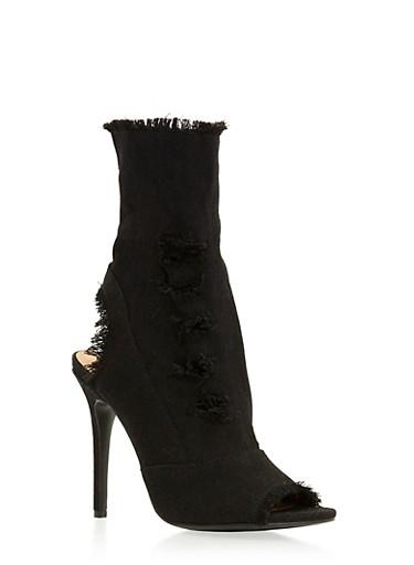 Distressed High Heel Peep Toe Booties,BLACK DENIM,large