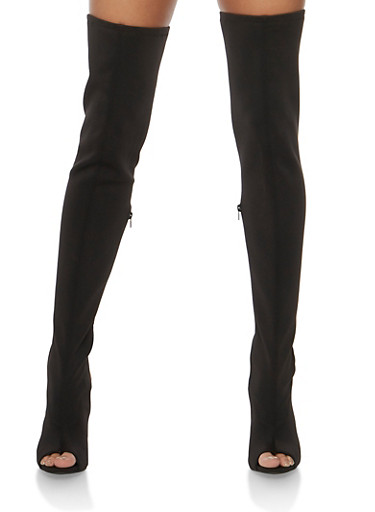 Thigh High Open Heel Boots,BLACK LYC,large
