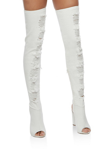Destroyed Denim Over the Knee Boots,WHITE DENIM,large