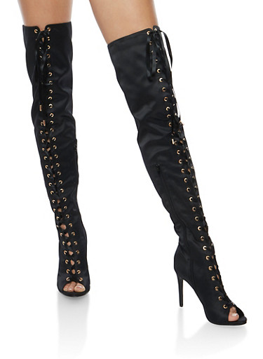 Satin Lace Up Thigh High Boots,BLACK SATIN,large