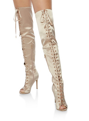 Satin Lace Up Thigh High Boots at Rainbow Shops in Daytona Beach, FL | Tuggl