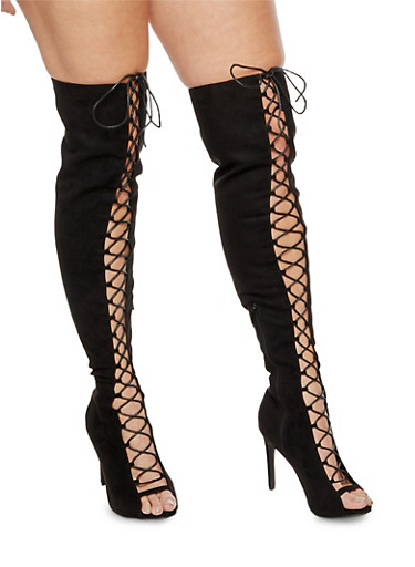Lace Up Peep Toe Over the Knee Boots,BLACK F/S,large