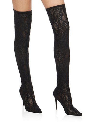 Over the Knee Pull On Lace Boots,BLACK LACE,large