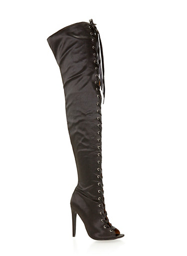 Satin Thigh High Lace Up Boots,BLACK,large