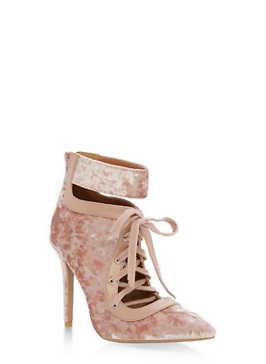 Pointy Lace Up Ankle Strap Velvet Heels,PINK CRUSHED VELVET,large