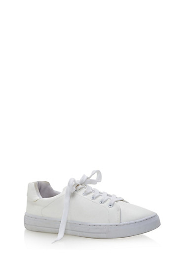 Lace Up Tennis Sneakers,WHITE PU,large
