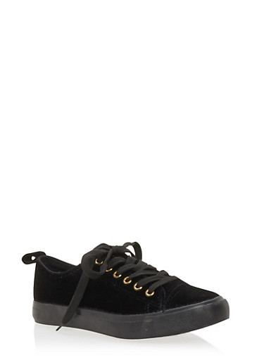 Velvet Lace Up Sneakers,BLACK,large