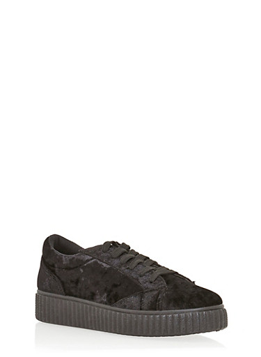Lace Up Crushed Velvet Creeper Sneakers,BLACK,large