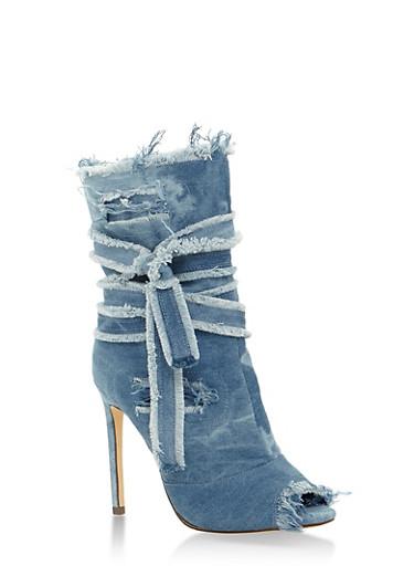 Denim Peep Toe High Heel Booties,BLUE DENIM,large