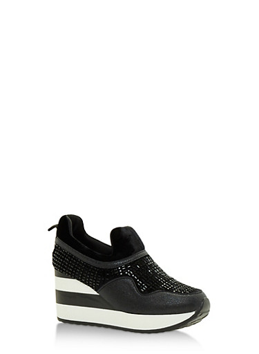 Multi Textured Striped Platform Sneakers,BLACK,large