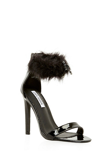 Furry Ankle Strap High Heeled Sandals,BLACK,large