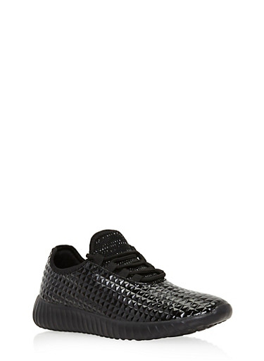 Lace Up Textured Sneakers,BLACK,large