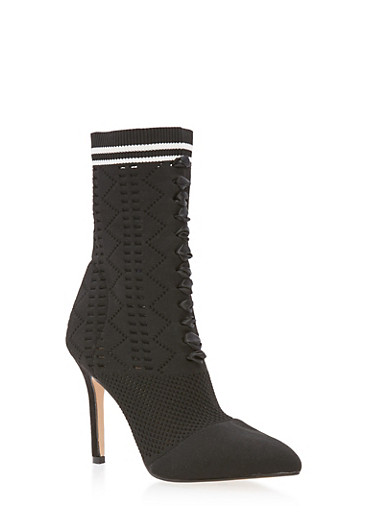 Lace Up Knit Sock High Heel Booties,BLACK,large