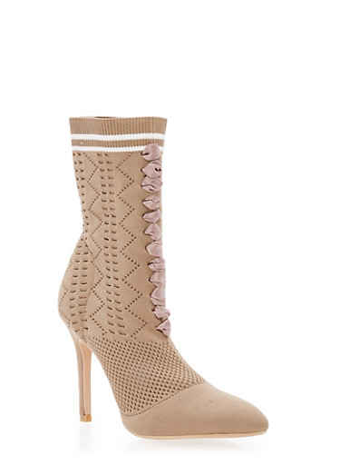Lace Up Knit Sock High Heel Bootie at Rainbow Shops in Daytona Beach, FL | Tuggl