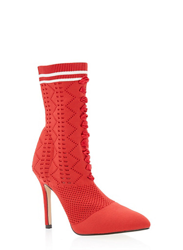 Lace Up Knit Sock High Heel Booties,RED,large