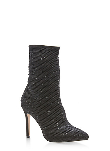 Rhinestone Mesh High Heel Booties at Rainbow Shops in Jacksonville, FL | Tuggl