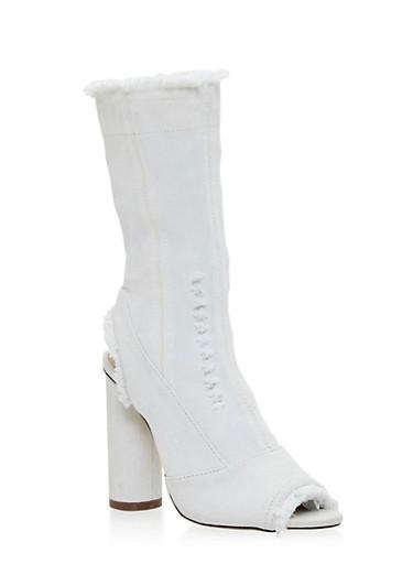 Frayed Denim Peep Toe High Heel Booties,WHITE,large