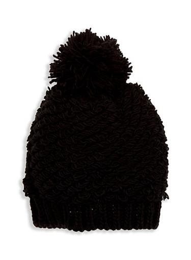 Loop Knit Hat with Pom Pom,BLACK,large