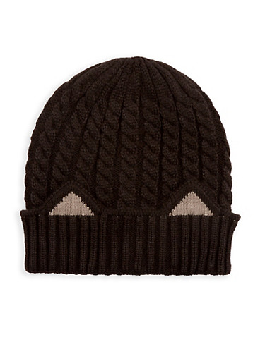 Cable Knit Cat Ear Beanie,BLACK,large