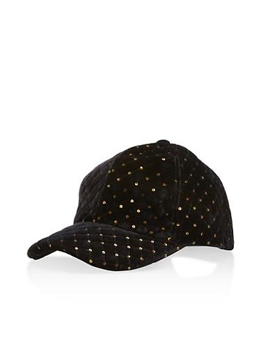 Quilted Sequin Velvet Baseball Hat,BLACK,large