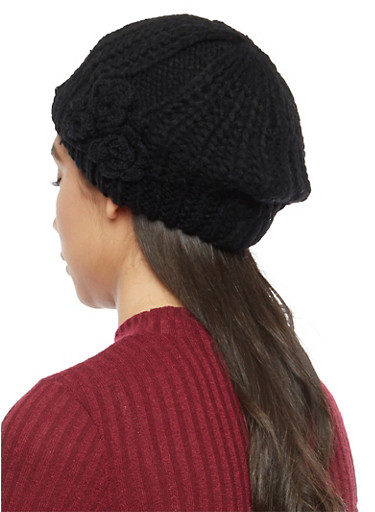 Chunky Knit Beret with 3 Rosette Accents,BLACK,large
