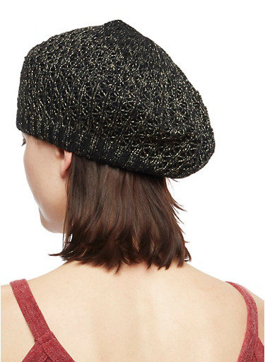Shimmer Knit Beret,BLACK,large