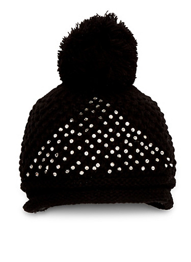 Pom Pom Hat with Crystals,BLACK,large
