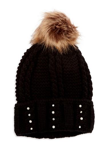 Faux Pearl Rhinestone Knit Pom Pom Hat,BLACK,large