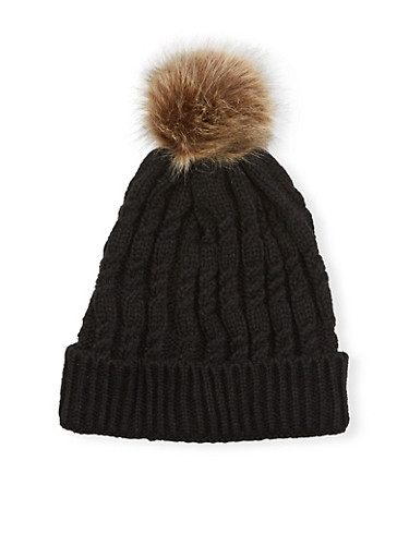 Cable Knit Beanie Hat with Fur Pom Pom,BLACK,large