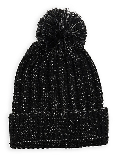 Pom Pom Heavy Knit Beanie,BLACK,large