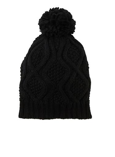 Slouchy Beanie Hat with Pom Pom,BLACK,large