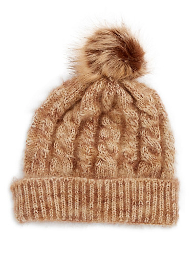 Fuzzy Cable Knit Pom Pom Hat,BROWN,large