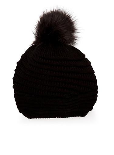 Beanie Hat with Faux Fur Pom Pom,BLACK/BLACK,large