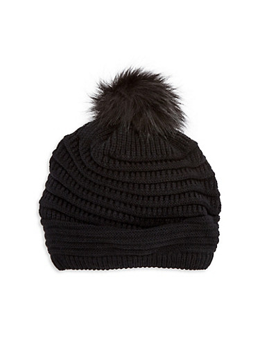 Pom Pom Knit Turban Hat,BLACK,large