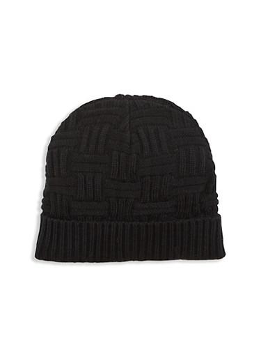 Woven Knit Beanie Hat,BLACK,large