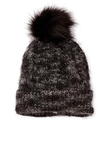 Fuzzy Beanie Hat with Faux Fur Pom Pom,BLACK,large