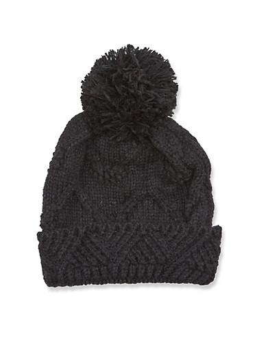 Beanie Hat with Pom Pom,BLACK,large