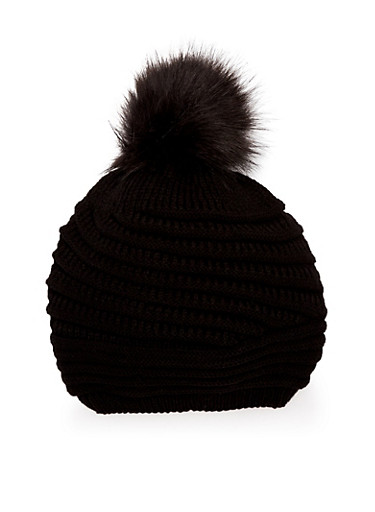Patterned Knit Beanie Hat with Pom Pom,BLACK,large
