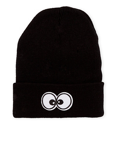 Beanie Hat with Eyes Patch,BLACK,large