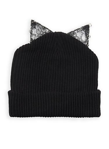 Lace Cat Ear Beanie,BLACK,large