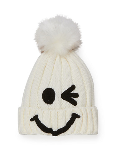 Smiley Face Beanie Hat with Pom Pom,WHITE/WHITE/BLACK,large