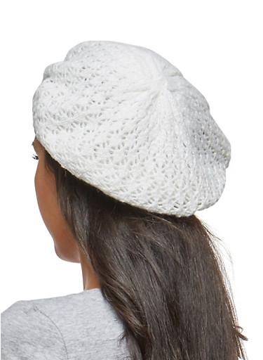Shimmer Knit Beret,WHITE,large